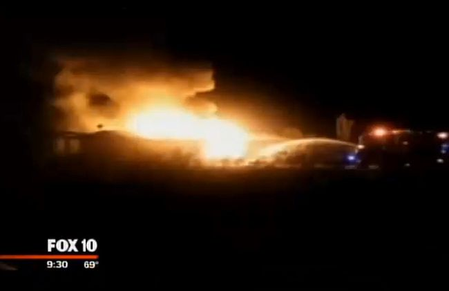 An Arizona man received a surprising $19,825 bill from a nearby fire department after his home burned down. This is a neighbour's videoclip of the fire. (Screengrab/Fox10)