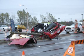 Intelligencer file photo William Goodfellow, who was 20 years old at the time of this single-vehicle crash at the intersection of Dundas Street and Bay Bridge Road in October 2011, was sentenced by Justice Richard Byers in Belleville court Tuesday morning.