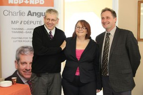 Timmins-James Bay MP Charlie Angus, NDP Constituency Assistant Lise Beaulne and Timiskaming-Cochrane MPP John Vanthof at the grand opening of their new Cochrane office at 143 3rd St.