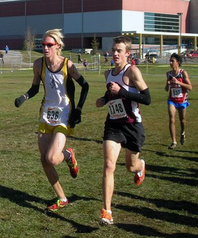 Brad Sheeler (left) competes in the junior boys race at the Ontario Federation of School Athletic Associations (OFSAA) Cross Country Championships in Sudbury earlier this month. After a tenth place finish, older brother Matt earned fifth place in the senior boys event. Contributed Photo