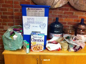 Donations are piling up at The Whig for Ben's food drive.
