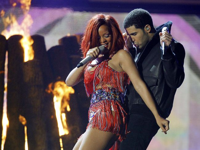 Drake and Rihanna perform 'What's My Name' at the 53rd annual Grammy Awards in Los Angeles on Feb. 13, 2011. (Lucy Nicholson/Reuters)