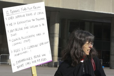 Anti-Ford protesters rally in front of City Hall  on Saturday November 16, 2013. Veronica Henri/Toronto Sun/QMI Agency