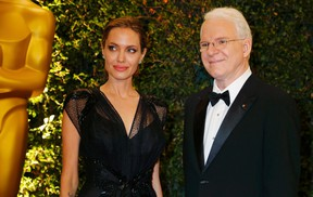 The Hollywood film industry recognized Angelina Jolie on Saturday with a humanitarian award for her work with refugees and advocating for human rights.  REUTERS/Fred Prouser
