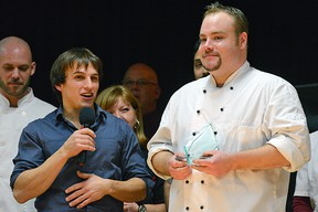 Carlos Oliveira, left, and Chef Joshua Clausen of The Thirsty Golfer (Tillsonburg) accept the People's Choice Award in Friday's Battle of the Hors D'Oeuvres, a fundraiser for Big Brothers Big Sisters of Ingersoll, Tillsonburg and Area fundraiser, which combined with the Bid for Kids Sake Charity Auction, annually raises thousands of dollars for the organization. CHRIS ABBOTT/TILLSONBURG NEWS
