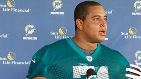 Jonathan Martin talks to the media May 4, 2012. (Joel Auerbach/Getty Images/AFP)