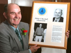 Phil Marshall, who was inducted into the Kingston and District Sports Hall of Fame on May 5, 2006, died on Friday. He was 81. (Michael Lea/The Whig-Standard)