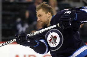 Jets right-winger Blake Wheeler scored for the first time in 14 games. His goal came into an empty net Tuesday night in New York