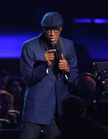 Actor Arsenio Hall announces the nominees for Best New Artist at The Grammy Nominations Concert Live - Countdown to Music's Biggest Night event, at Nokia theatre in Los Angeles December 6, 2013. The 56th annual Grammy Awards will be presented January 26, 2014 in Los Angeles.  REUTERS/Mario Anzuoni
