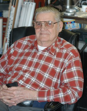 Courier Press file photo Frank Dymock, shown here in 2012, sharpened skates for over five decades in Wallaceburg. He refused payment, instead asking people to make donations to various causes such as minor hockey.