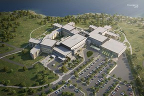 The design plans for the new Providence Care hospital were unveiled on Friday, including this aerial view.