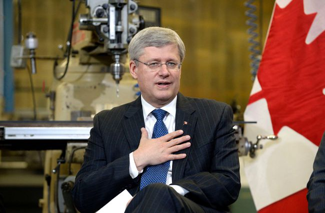 Canada's Prime Minister Stephen Harper is pictured at a pre-budget consultation at The Canadian Plastics Group in Newmarket, Nov. 28. Harper met with business representatives from the GTA in a roundtable discussion to launch a series of events across the country. 