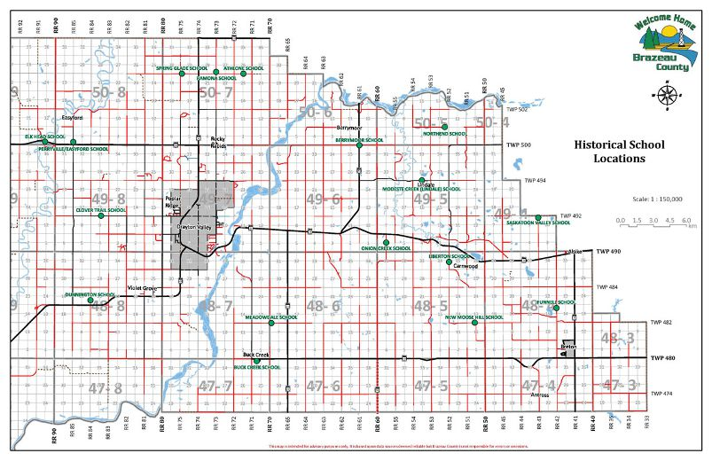 ... map shows that location of the 22 historical schools that Brazeau