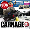 Front page, March 22, 2013: Multi-vehicle crashes shut down Alberta highway.