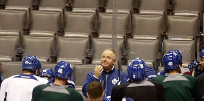 Toronto coach Randy Carlye at Maple Leafs practice at the Air Canada Centre in Toronto on December 20, 2013. (Michael Peake/Toronto Sun/QMI Agency)