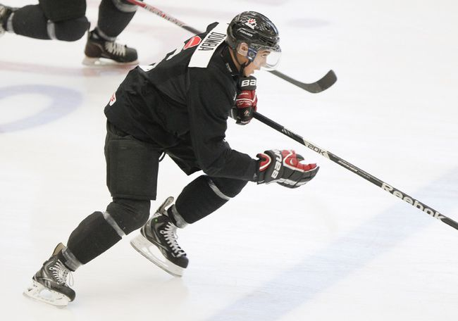 Canadian defenceman Mathew Dumba was assessed a kneeing major against Sweden in a pre-tournament game on Sunday, Dec. 22, 2013. (Lyle Aspinall/QMI Agency/Files)