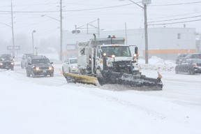 Plows were out in full force on Sunday, Dec. 22, 2013 plowing the roads in Sudbury, Ontario on a bad winter day. JOHN LAPPA/THE SUDBURY STAR (file photo)