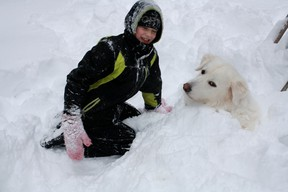 Columnist Barbara Wamboldt's grandson Grant plays with Pyrenees rescue dog, Samson.  Submitted photo