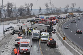 Police report no life-threatening injuries from a multiple-vehicle pileup that included a passenger bus that flipped on its side Saturday on Hwy. 401 near Brockville.