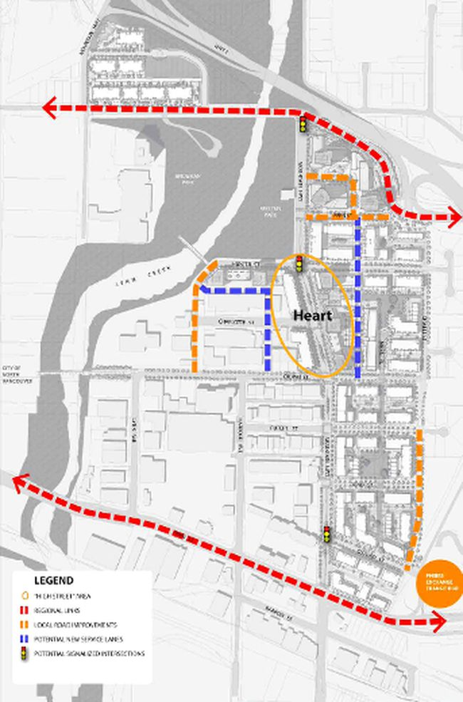 North Vancouver District's vision for the proposed new road network of the Lower Lynn neighbourhood. (NORTH VANCOUVER DISTRICT RENDERING)