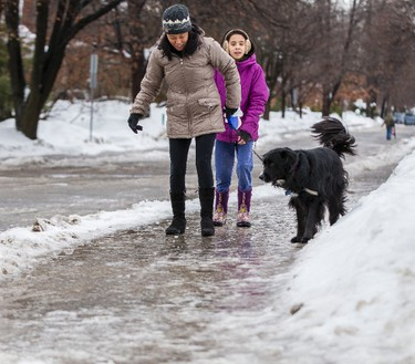 A woman young girl and dog have a difficult time walking on icy sidewalks in Ottawa. January 6, 2014. Errol McGihon/Ottawa Sun/QMI Agency