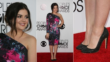 """Pretty Little Liars cutie Lucy Hale wore a one-shoulder abstract printed Gabriela Cadena dress that was a little on the mature side for the 24-year-old. (FayesVision/WENN.com)   PDRTJS_settings_7375283 = { """"id"""" : """"7375283"""", """"unique_id"""" : """"default"""", """"title"""" : """""""", """"permalink"""" : """""""" };"""