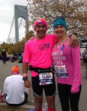 London's Roy Van Amerom showed support for breast cancer survivor Ruth Derks of Kerwood at the 2013 New York City Marathon in November. Derks ran the race less than four months removed from a double mastectomy. Contributed