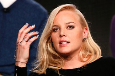 """Actress Abbie Cornish talks about Discovery Channel's """"Klondike"""" during the Winter 2014 TCA presentations in Pasadena, California, January 9, 2014. (REUTERS/Lucy Nicholson)"""