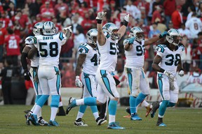 Carolina Panthers middle linebacker Luke Kuechly (59) celebrates with his teammates after an interception by cornerback Drayton Florence (29, not pictured) during the fourth quarter against the San Francisco 49ers at Candlestick Park. The Panthers defeated the 49ers 10-9 earlier this season. (Kyle Terada-USA TODAY Sports)