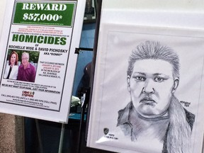 The sketch of a woman who Hallandale Police are looking for in connection with the homicide of Rochelle Wise and David Pichosky next to a reward posted. (Taimy Alvarez/South Florida Sun Sentinel)