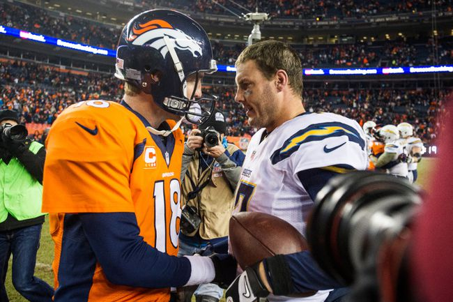 Denver Broncos QB Peyton Manning (left) and San Diego Chargers QB Philip Rivers. (AFP)
