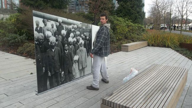 A man who was photographed peeing on a memorial to victims of the Komagata Maru incident will not be charged say Vancouver police. (PHOTO SUBMITTED)