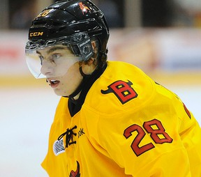 Bulls forward David Tomasek, along with Niki Petti, appears on the NHL Central Scouting mid-term draft list. (AARON BELL/OHL Images)