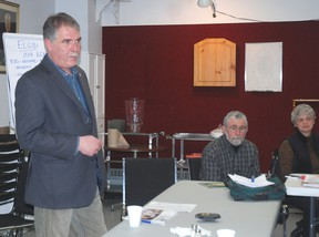 Steve Peters was the guest speaker at the National Farmers Union Elgin county chapter annual general meeting Wednesday in West Lorne.