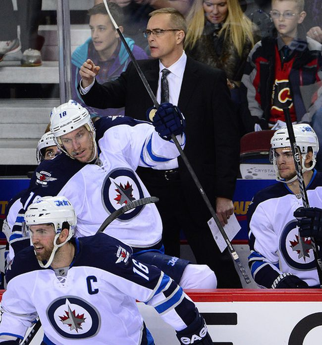 Paul Maurice was behind the bench for his second game as Winnipeg Jets head coach. Photo by Al Charest/Calgary Sun.