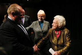 Toronto Mayor Rob Ford and Mississauga Mayor Hazel McCallion shake hands at a meeting of GTA mayors seeking federal and provincial help to pay for ice storm damage. (Stan Behal/Toronto Sun)
