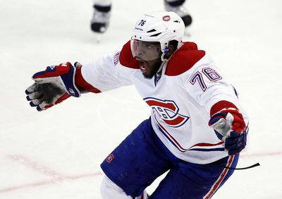 Montreal Canadiens' P.K. Subban (76) celebrates after scoring the winning goal against the Ottawa Senators' goalie Craig Anderson (41) during the overtime period of NHL action in Ottawa, Ont. on Thursday January 16, 2014. The final score was 5-4. Darren Brown/Ottawa Sun/QMI Agency