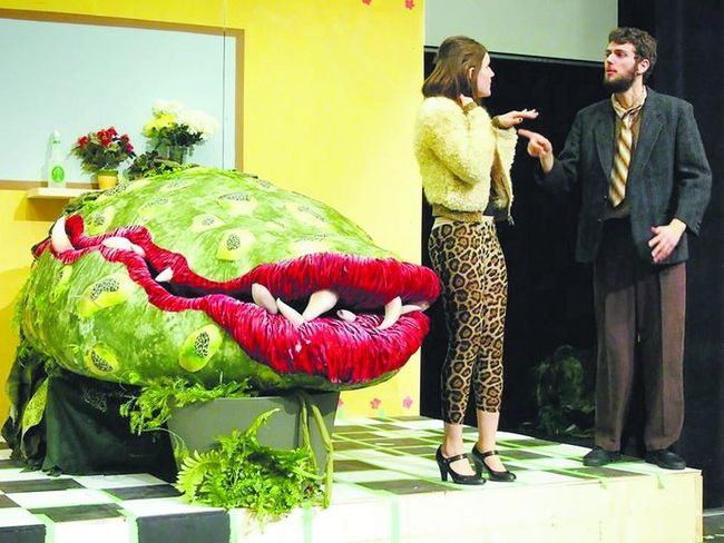 Jesslyn Hodgson as Audrey and Sam Boer as Mr. Mushnik star in the King's University College Players' production of Little Shop of Horrors, on Thursday, Friday and Saturday at the new Joanne & Peter Kenny Theatre on the campus. (Special to QMI Agency)