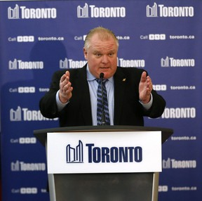 Mayor Rob Ford speaks to media after the executive committees budget meeting at City Hall on Wednesday. (MICHAEL PEAKE/Toronto Sun)