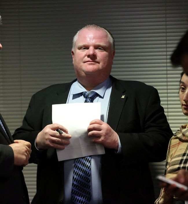 Mayor Rob Ford gathers his thoughts before a budget committee meeting at City Hall on Wednesday. (DAVE ABEL/Toronto Sun)