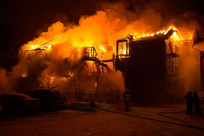 Three people died and thirty others were missing, Thursday, Jan. 23, 2014, after a senior's home fire in L'Isle-Verte, Que. (FRANCOIS DROUIN/INFO DIMANCHE/QMI AGENCY)