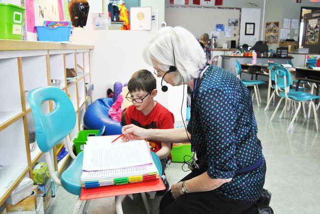 Grade 2 Pat Hardy Primary School teacher Mary Ellen Boyer gets a chance to interact with Brody Duncan during a Daily Five session.