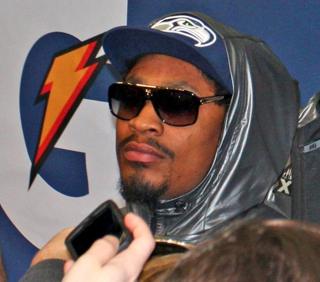 Seahawks running back Marshawn Lynch spoke for a few minutes during the NFL's Super Bowl Media Day in Newark, N.J., on Tuesday, Jan. 28, 2014. (John Kryk/QMI Agency)