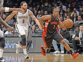 Raptors' Kyle Lowry (pictured) and Patrick Patterson were instrumental in the final seconds of Toronto's win Monday in Brooklyn.