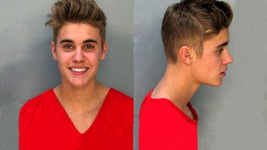 Justin Bieber arrested January 23, 2014 for DUI, drag racing and resisting arrest. (Photo courtesy of the Miami Police Department)