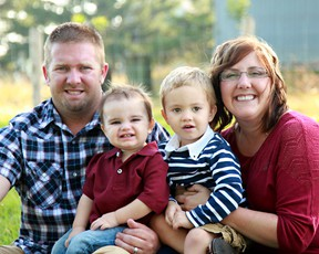 Brooke Leystra, her husband Scott, and her sons Corbin and Benjamin are the next generation of local farming families. Brooke Leystra was recently named the new president of the Lambton Federation of Agriculture. (Submitted photo)