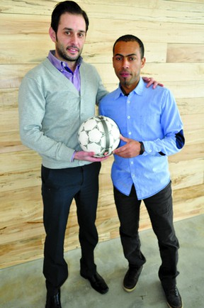 David Debenedictis, AG London's director of soccer (left), and Jose Figueiredo, AG London's technical director, Jan. 23, 2014. The pair has recently started AG London, a new local youth development academy that will open this summer. CHRIS MONTANINI\LONDONER\QMI AGENCY
