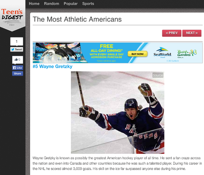 """Screengrab from Teen's Digest website naming Brantford native Wayne Gretzky as No. 5 on their """"Most Athletic Americans' list."""