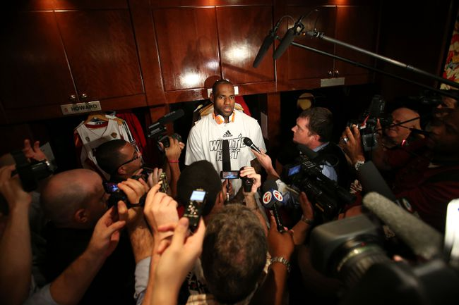 Miami Heat's LeBron James addresses the media prior to playing the San Antonio Spurs in Game 2 of the 2013 NBA Finals on June 9, 2013. (Nathaniel S. Butler/NBAE via Getty Images/AFP)