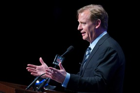 NFL commissioner Roger Goodell speaks during a news conference ahead of the Super Bowl in New York on Friday, Jan. 31, 2014. (Carlo Allegri/Reuters)